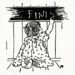 illustration of a little girl to say finish